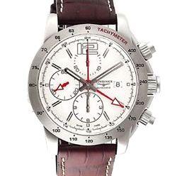 【送料無料】 LONGINES(ロンジン) アドミラル オートマチック GMT クロノグラフ アリゲーターレザー ブラウン/シルバー L3.670.4.76.3 腕時計 メンズ