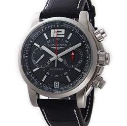 【送料無料】 LONGINES(ロンジン) アドミラル オートマチック クロノグラフ アリゲーターレザー ブラック/グレー L3.666.4.79.0 腕時計 メンズ