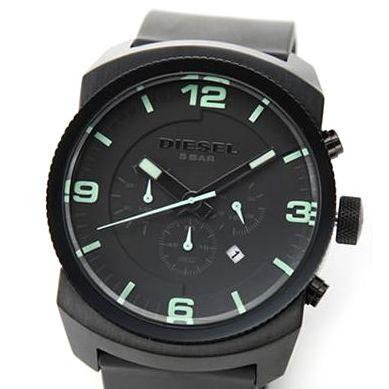 DIESEL(ディーゼル) メンズ 腕時計 Analog(アナログ) 注目のオールブラック・クロノグラフ ラバーストラップ・ウオッチ DZ4192