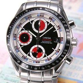 【送料無料】 OMEGA(オメガ) 腕時計 スピードマスターデイト ブラック/レッド&シルバー 3210-52